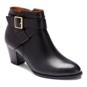 Vionic Black Trinity Buckle Zip Ankle Boots